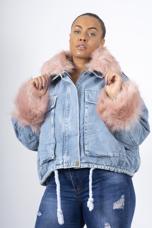 Pink Faux Fur Trim Denim Jacket