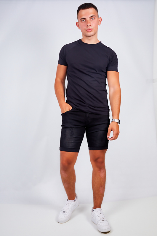 Mens Washed Black Distressed Denim Slim Shorts