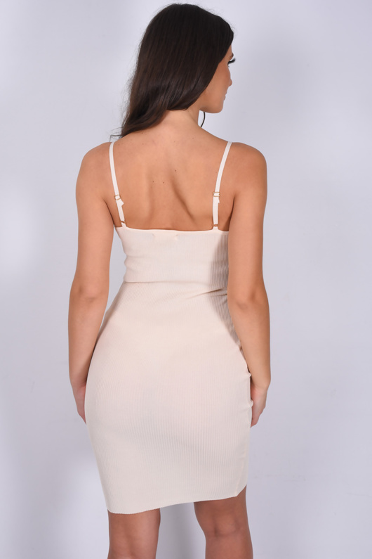 Cream Ribbed Ruched Cut Out Bodycon Dress