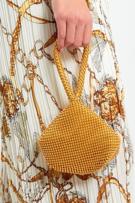 094-Gold Embellished Wristlet Evening Clutch