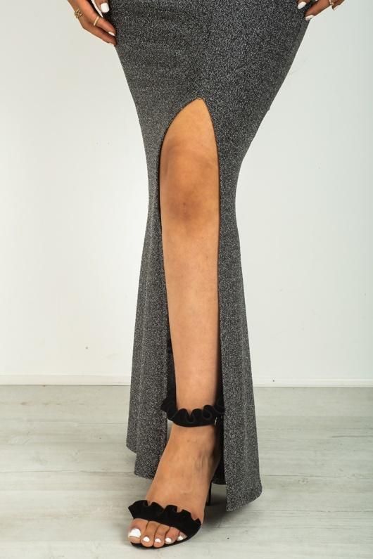 Silver Glitter Split Hem Party Maxi Dress