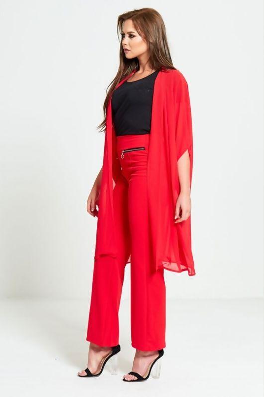Red Half Sleeve Chiffon Cardigan