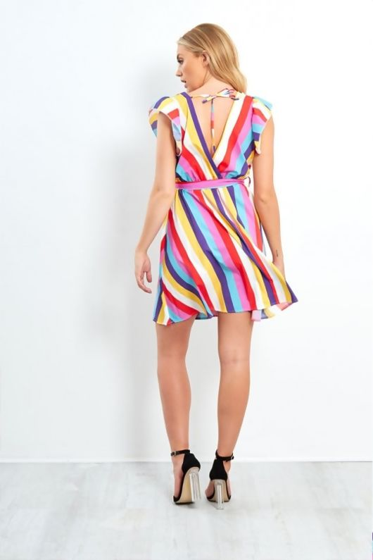 Multicoloured Striped Wrapped Front Mini Dress