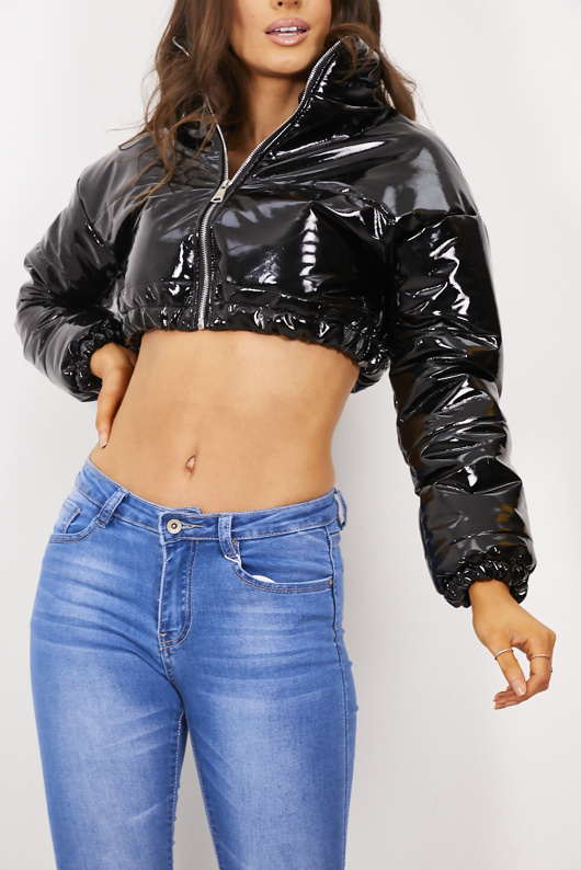 Black Vinyl Crop Puffer Coat
