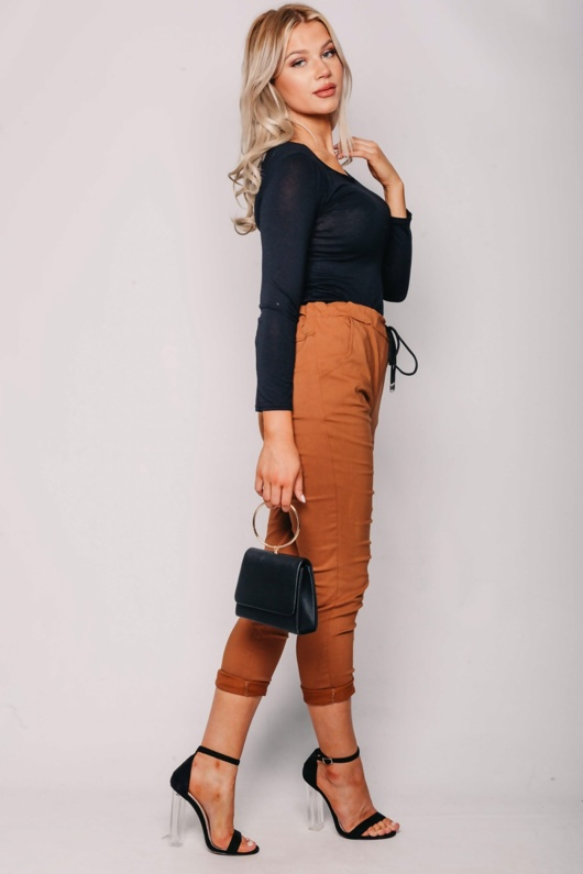 Camel High Waisted Trousers With Turn Up Detail