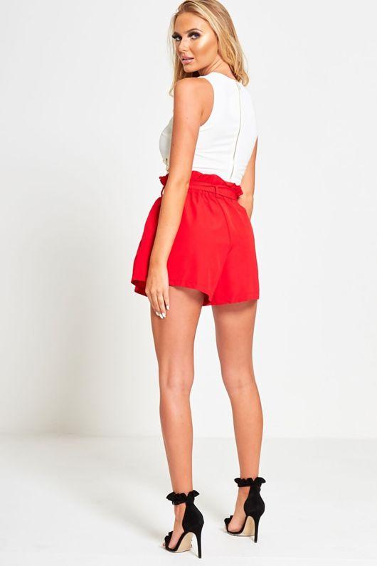Red Ruffle High Waist Shorts