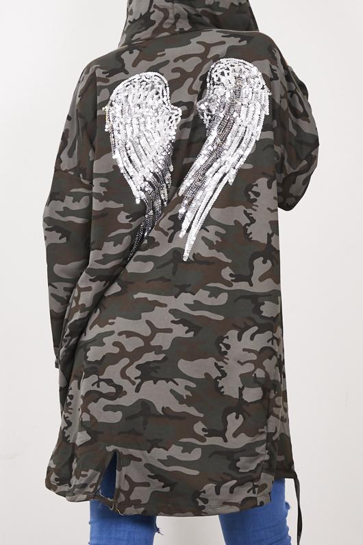 Camo Sequin Angel Wings Hooded Cardigan