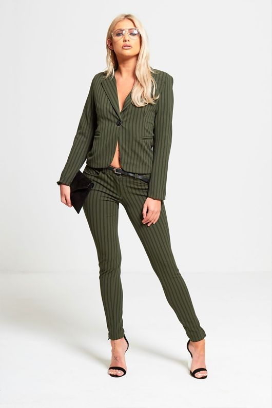 Green Striped Slim Fit Blazer