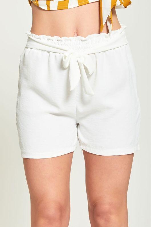White High Waist Belted Ruffle Shorts