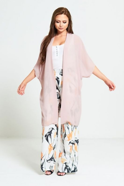 Pink Half Sleeve Chiffon Cardigan