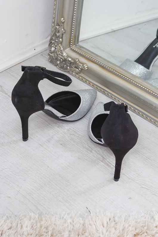 Silver Point Toe Glitter Stiletto Heel Court Shoe