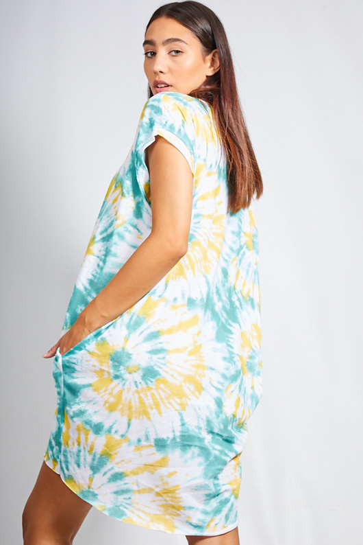 Yellow Tie Dye Oversized Pocket Tee Dress