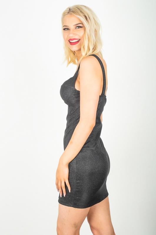 Black Glitter Bralet Bodycon Dress