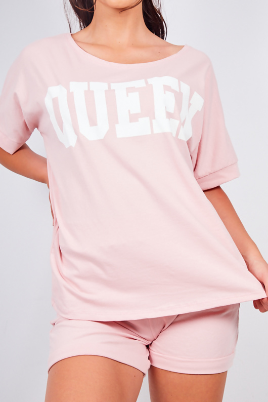 Dusty Pink Queen Oversized T-shirt And Shorts Lounge Set
