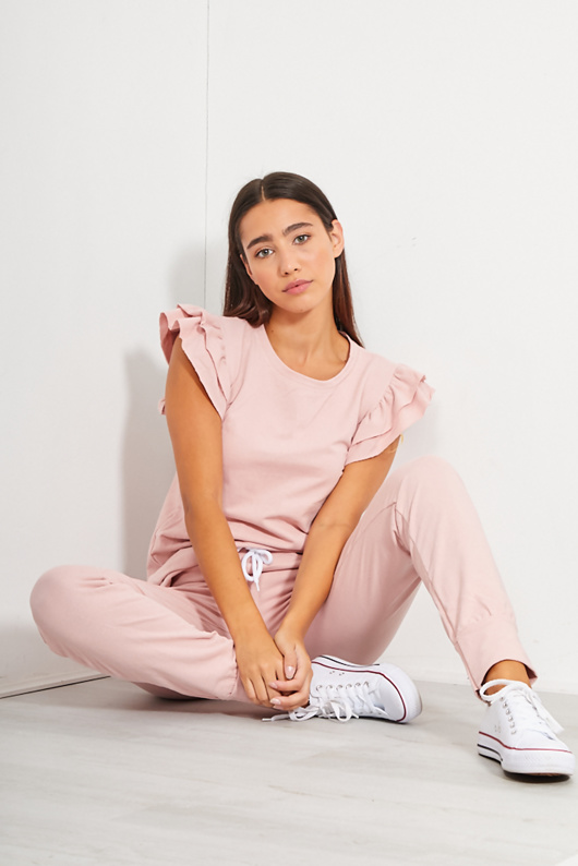Dusty Ruffle Sleeve Top And Trouser Lounge Set