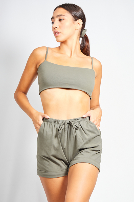 Khaki Crop Top And Shorts Co-ord With Scrunchie