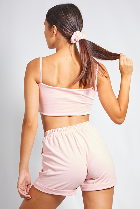 Pink Crop Top And Shorts Co-ord With Scrunchie
