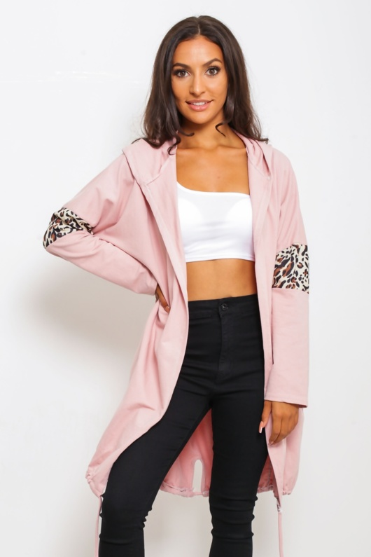 Dusty Leopard Print Armband Hooded Cardigan