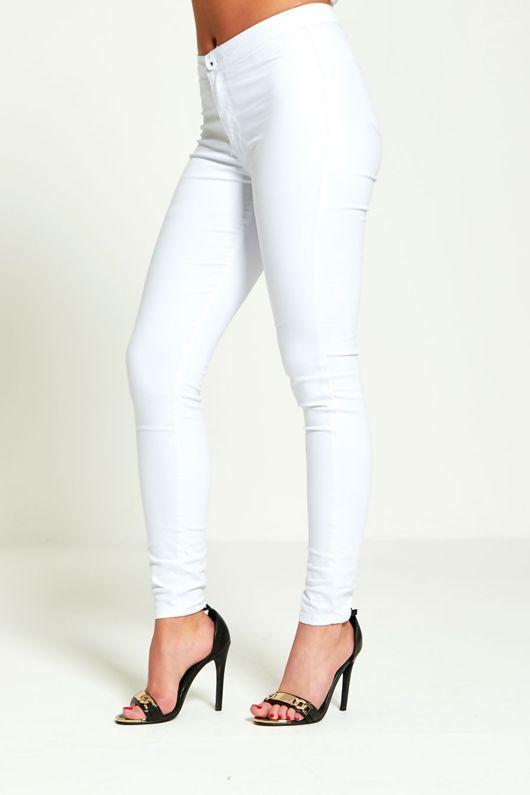 White High Rise Super Skinny Jeans