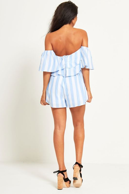 Baby Blue Striped Ruffle Playsuit