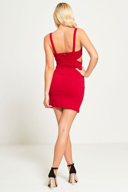 Wine Cut Out Bodycon Mini Dress
