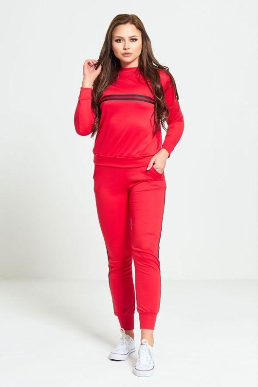 Red Striped Loungewear Sweatshirt