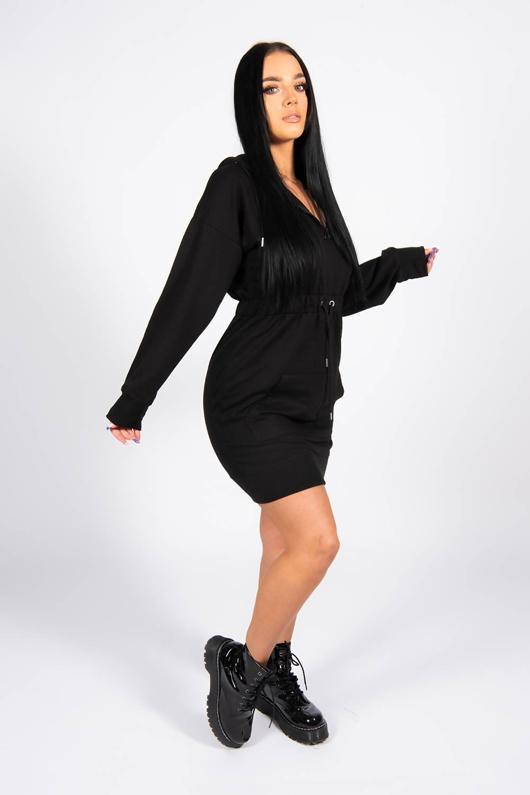 Black Waist Tied Sweat Hoodie Dress