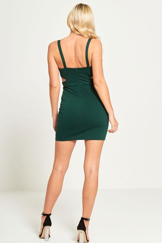 Green Cut Out Bodycon Mini Dress