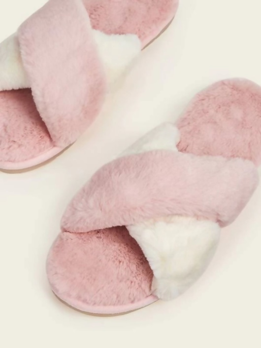Baby Pink And White Fluffy Cross Strap Slippers