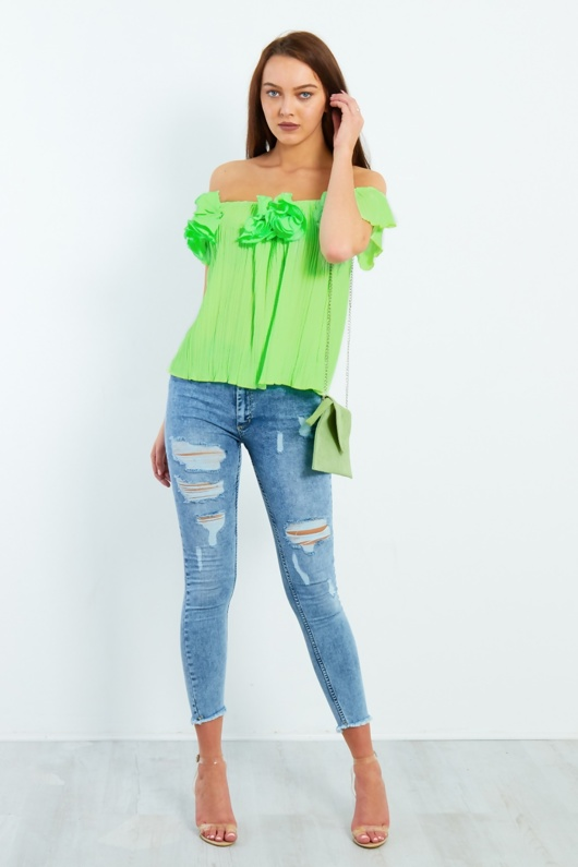 Neon Green 3D Ruffle Bardot Pleated Top
