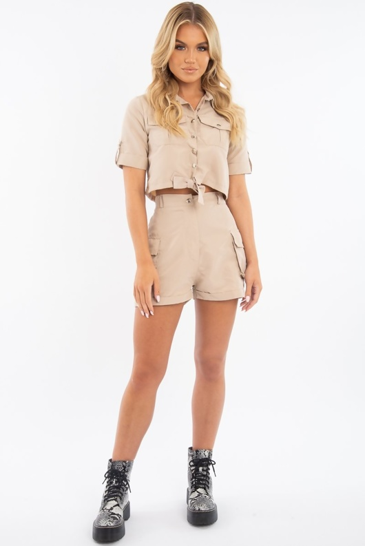 Stone Button Front Utility Pocket Shirt And Shorts Set
