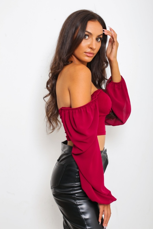 Wine Button Front Long Sleeved Crop Top