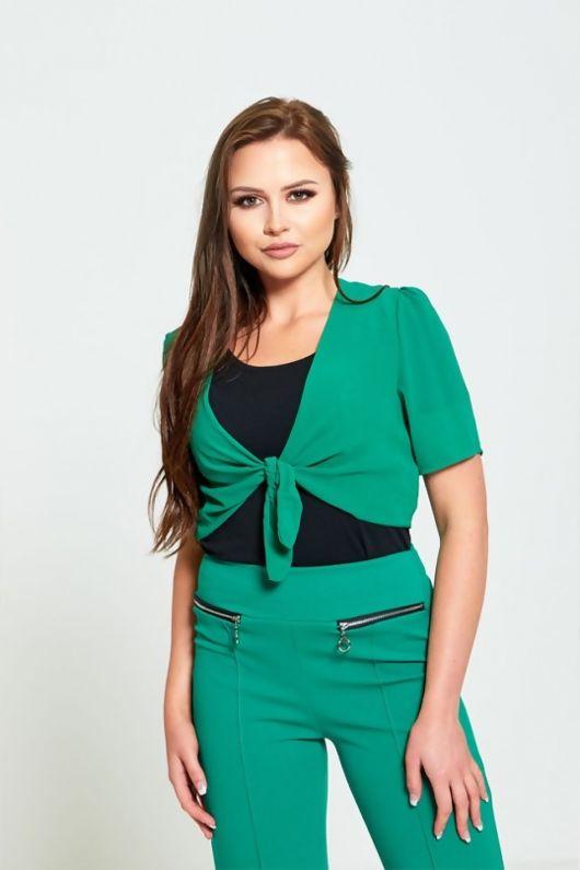 Green Front Tie Mesh Shrug