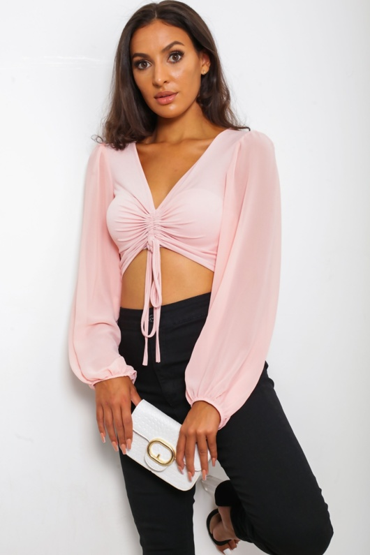 Pink Ruched Front Long Sleeve Top