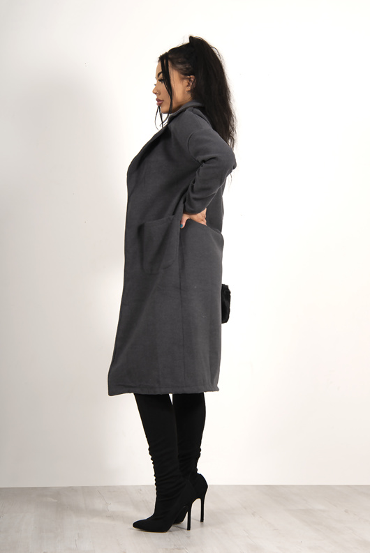 Charcoal waterfall pocket detail duster jacket