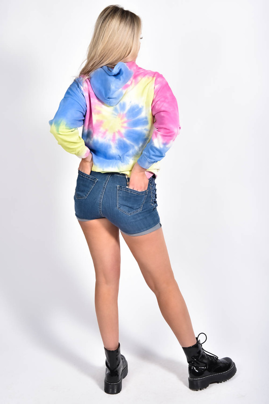 Blue Side Lace Up Shorts