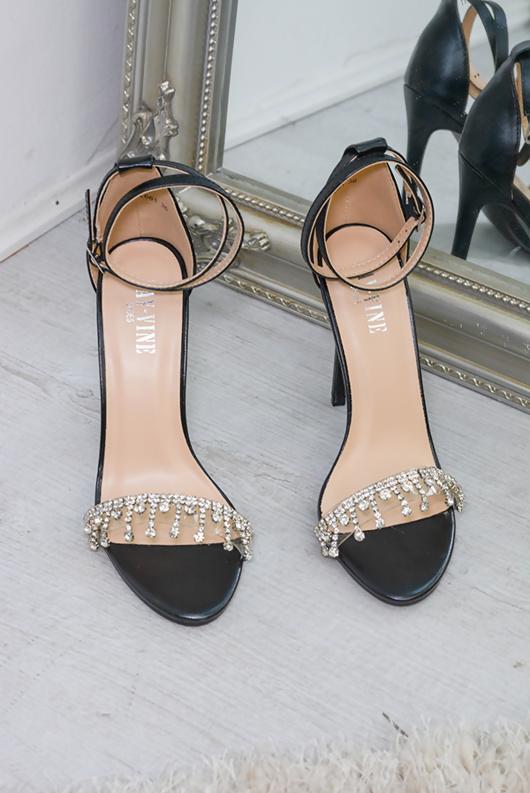 Black Diamante Detail Strappy Heels