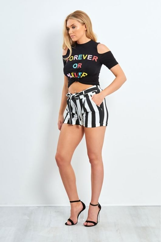 black ever or forever slogan knot top
