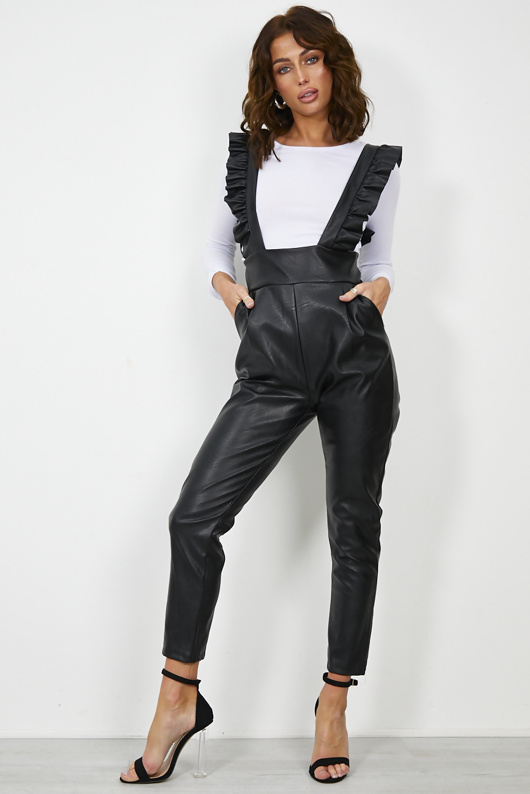 Black Faux Leather Frill Pinafore Jumpsuit