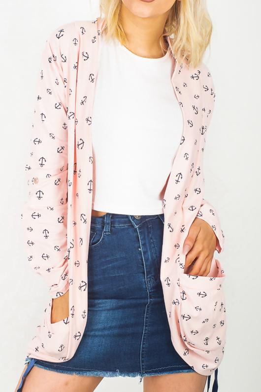 Dusty Pink Anchor Print Cardigan