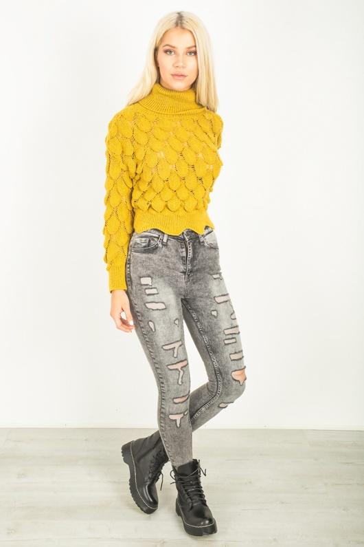 Mustard Chunky Bobble Knit Jumper