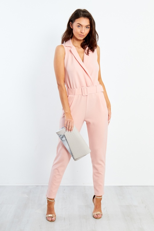 Nude Belted Tailored Jumpsuit