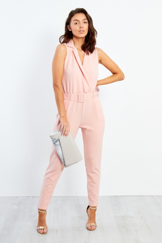 1938-Nude Belted Tailored Jumpsuit