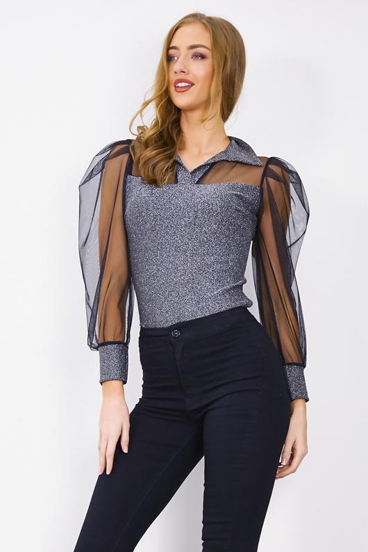 Silver Glitter Sheer Detail Collar Bodysuit
