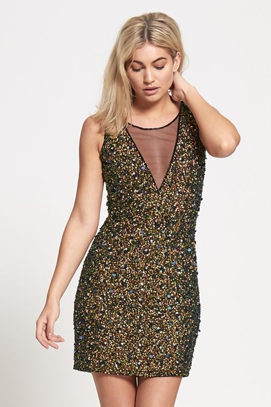 Premium Sequinned Gold Mini Dress