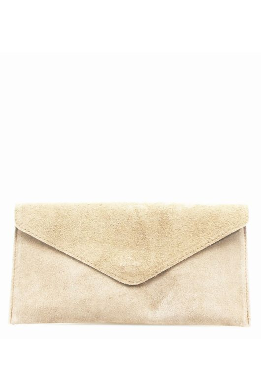 Nude Suede Leather Luxe Clutch Bag