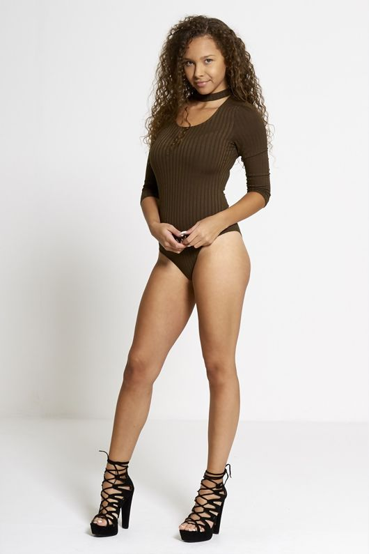 Khaki Ribbed Choker Neck Bodysuit