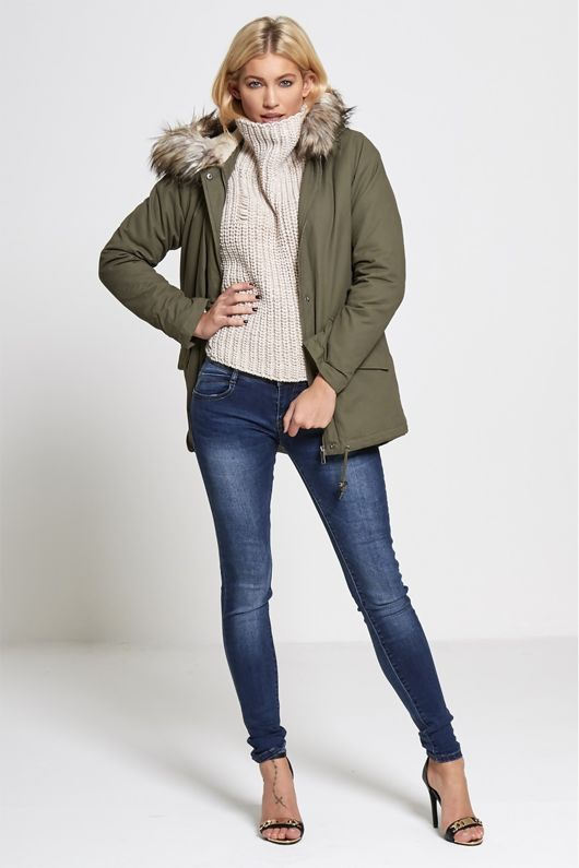 Sequinned Back Khaki Parka Coat