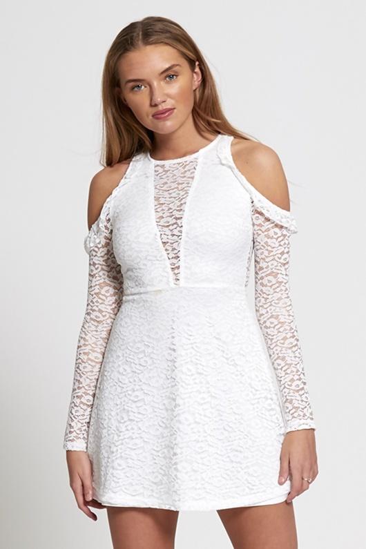 White Cold Shoulder Lace Mini Dress
