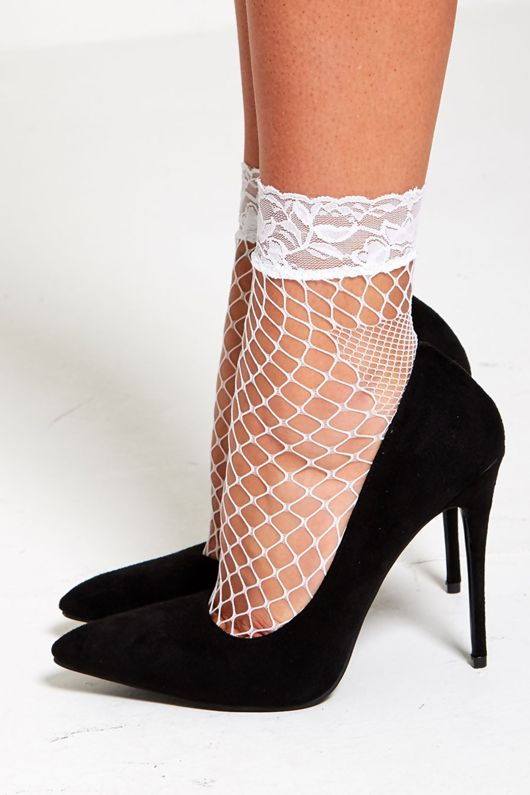 White Lace Fishnet Tights
